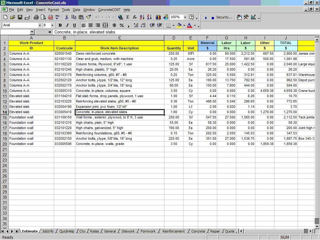 quantity takeoff excel spreadsheet and take off sheet example